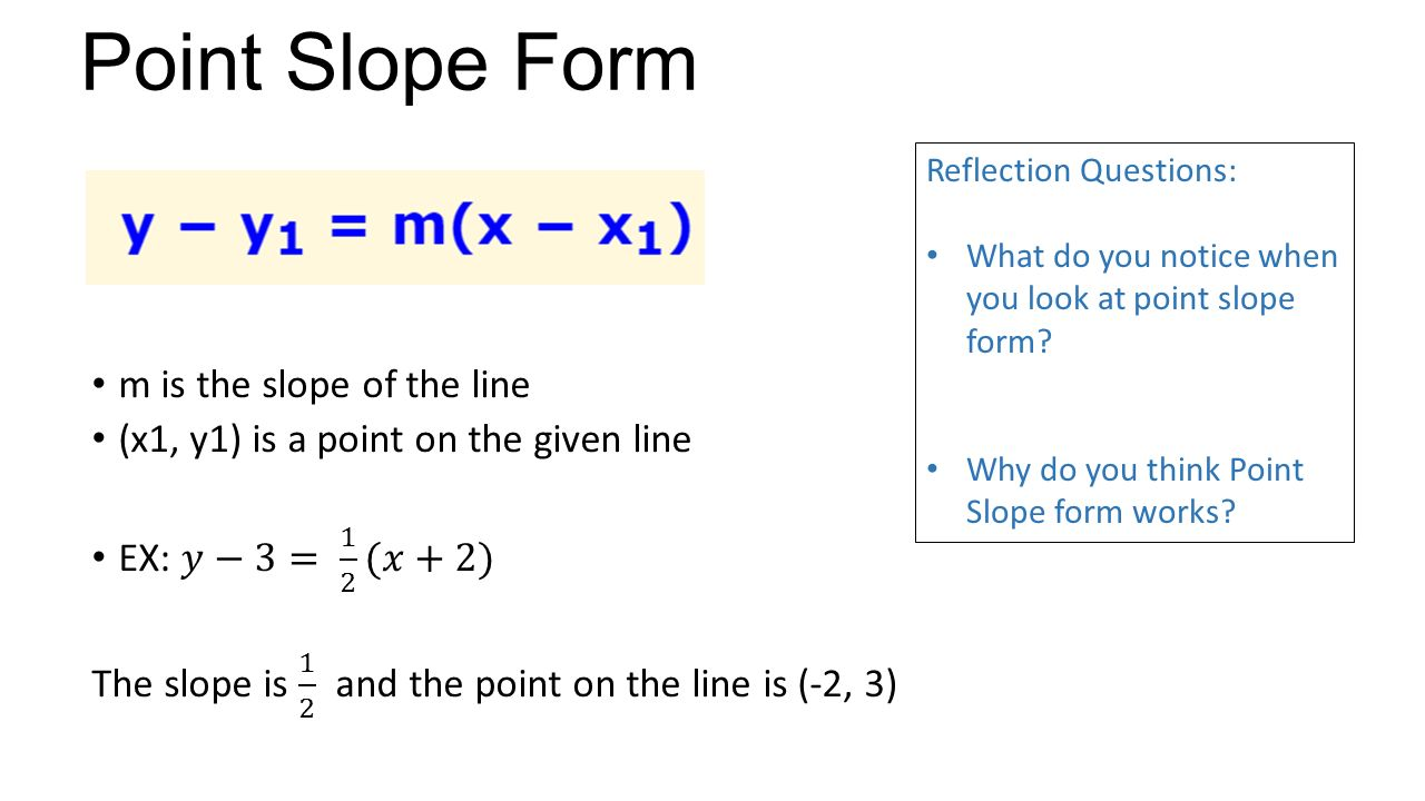point slope form questions  Writing Equations with Slope and a Point Unit 12 Lesson ppt ...