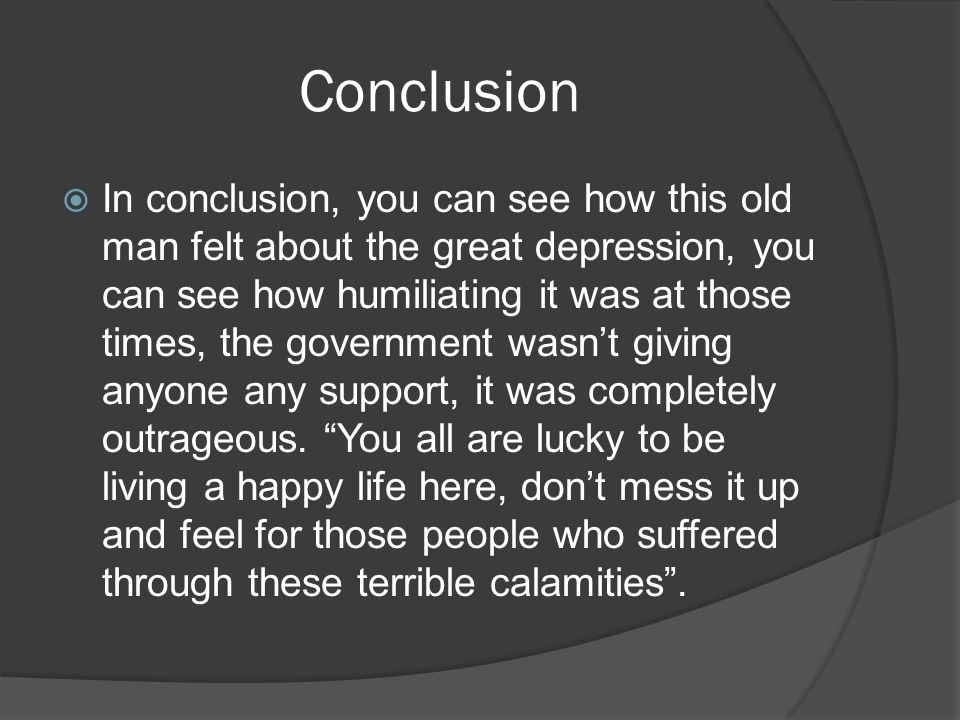 conclusion about the great depression