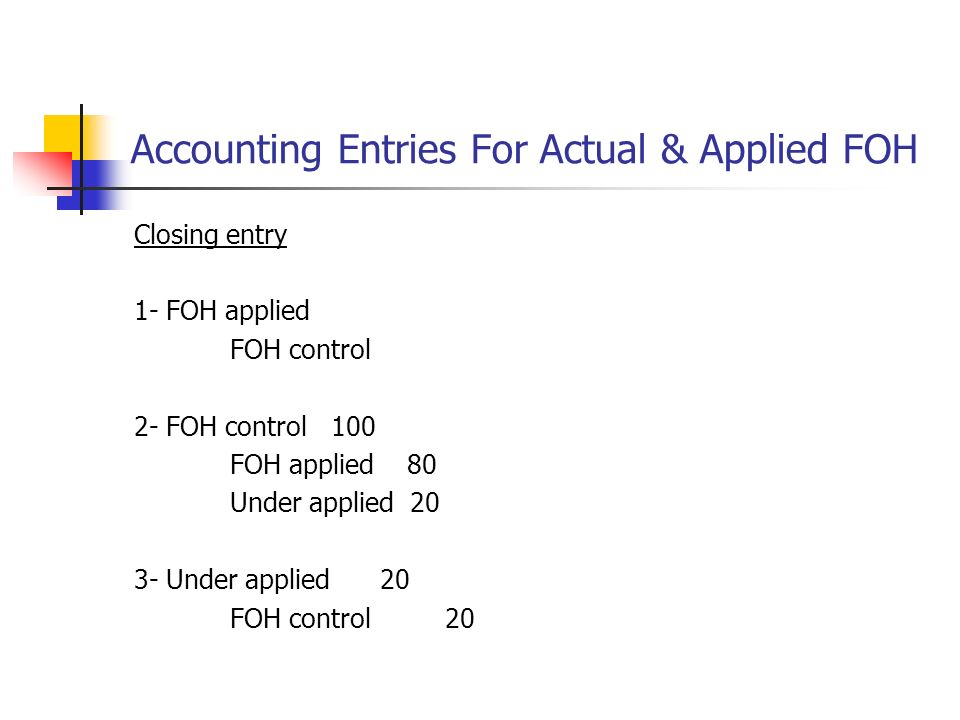 Accounting for foh