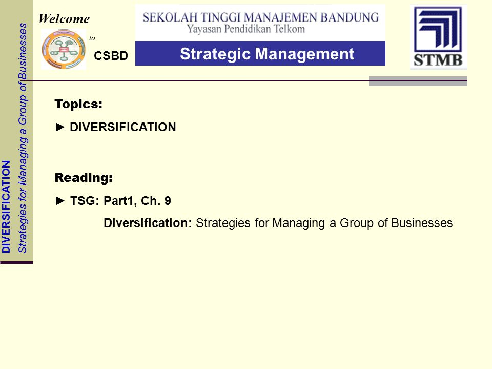 DIVERSIFICATION Strategies for Managing a Group of Businesses Topics