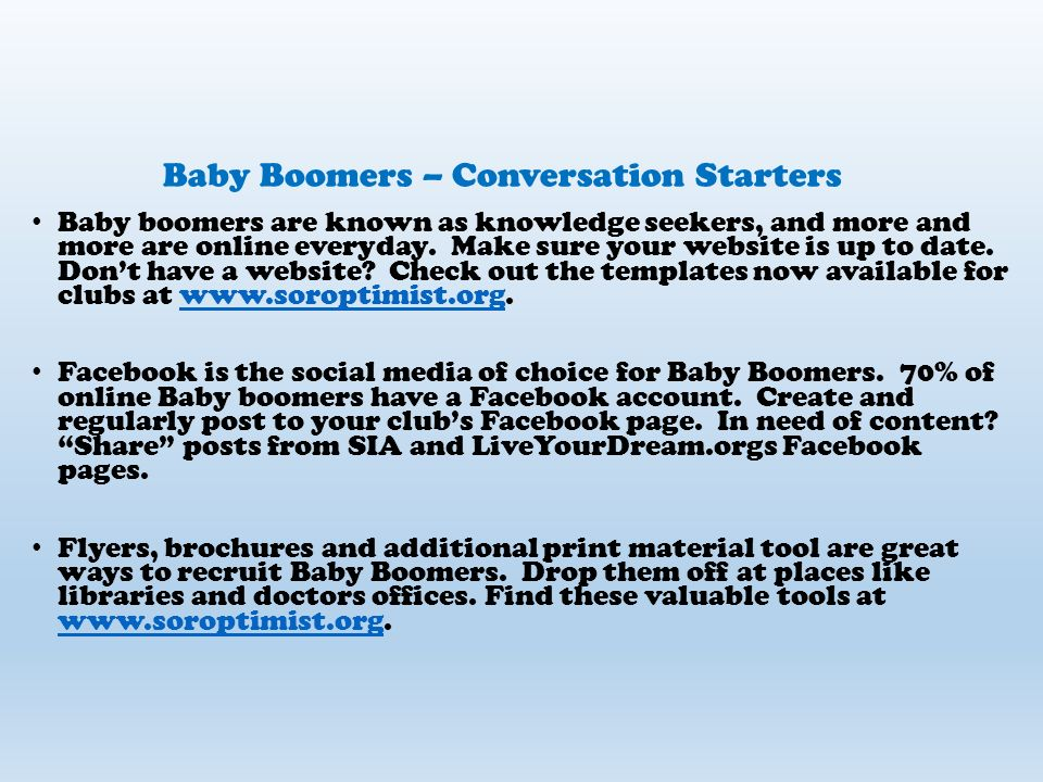 Baby Boomers Born between 1946 – 1964 (Ages 51-69) Number 450