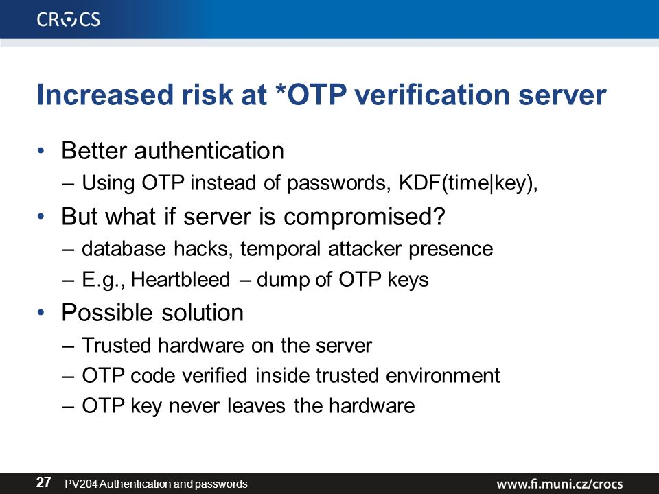 PV204 Security technologies Authentication and passwords