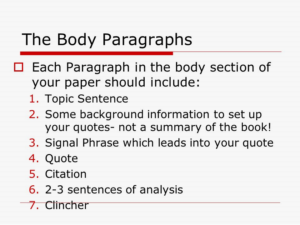 how to start your body paragraph