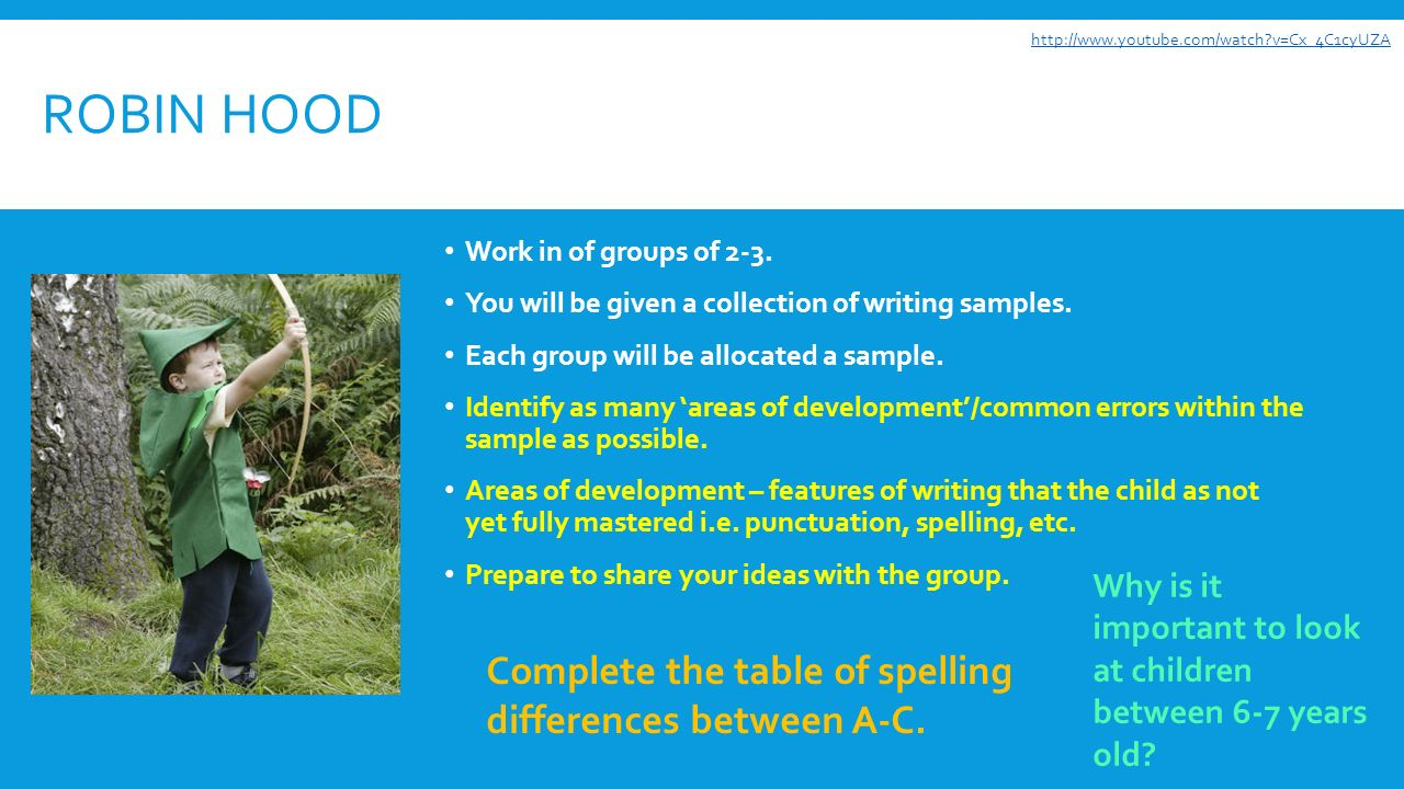 ROBIN HOOD Work in of groups of 2-3. You will be given a collection of writing samples.