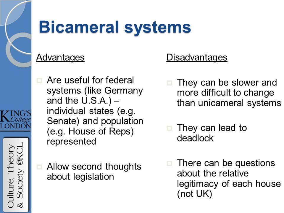 advantages and disadvantages of bicameral system