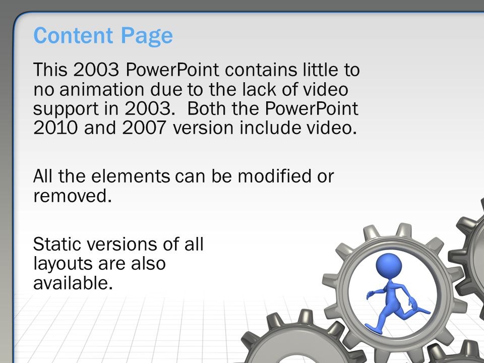 Working the gears an animated powerpoint template ppt download content page this 2003 powerpoint contains little to no animation due to the lack of video toneelgroepblik Image collections