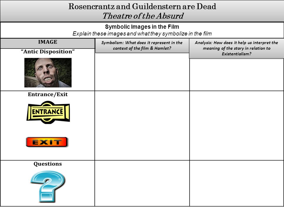 hamlet analysis rosencrantz and guildenstern Rosencrantz and guildenstern are dead concept analysis literary text: rosencrantz and guildenstern are dead by tom stoppard  rosencrantz and guildenstern are dead is a play written in three acts each act can be identified  claudius comments on hamlet's love for ophelia and rosencrantz mentions briefly how it did not.