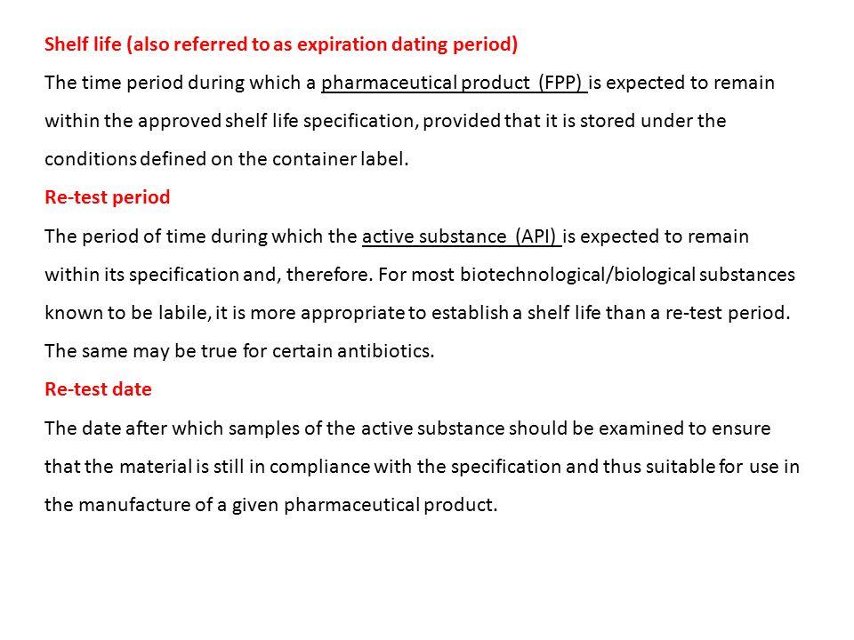 expiration dating of pharmaceuticals