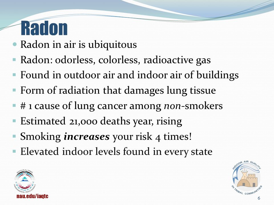 Radon Radon in air is ubiquitous  Radon: odorless, colorless, radioactive gas  Found in outdoor air and indoor air of buildings  Form of radiation that damages lung tissue  # 1 cause of lung cancer among non-smokers  Estimated 21,000 deaths year, rising  Smoking increases your risk 4 times.