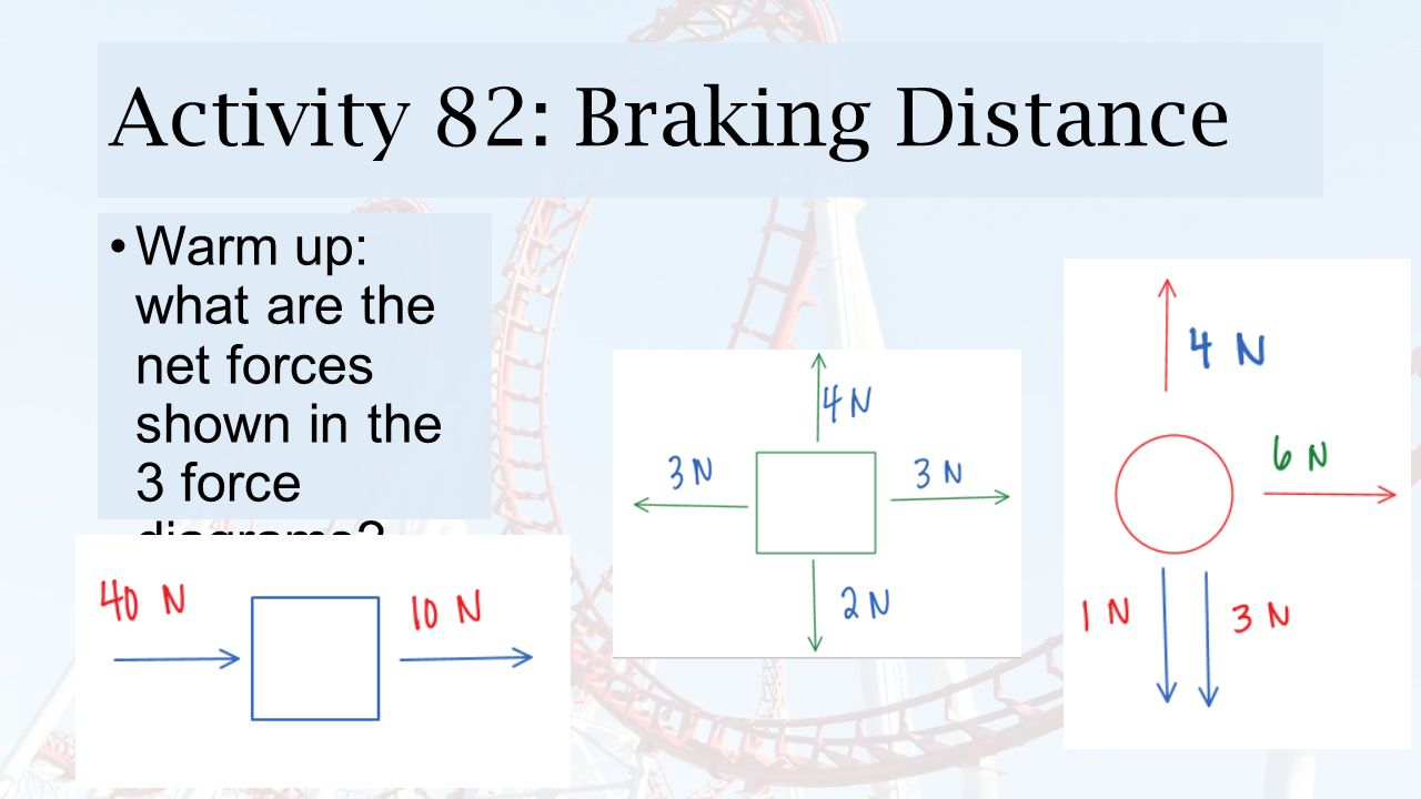 Activity 82 Braking Distance Warm Up What Are The Net Forces Shown Diagrams Of 1