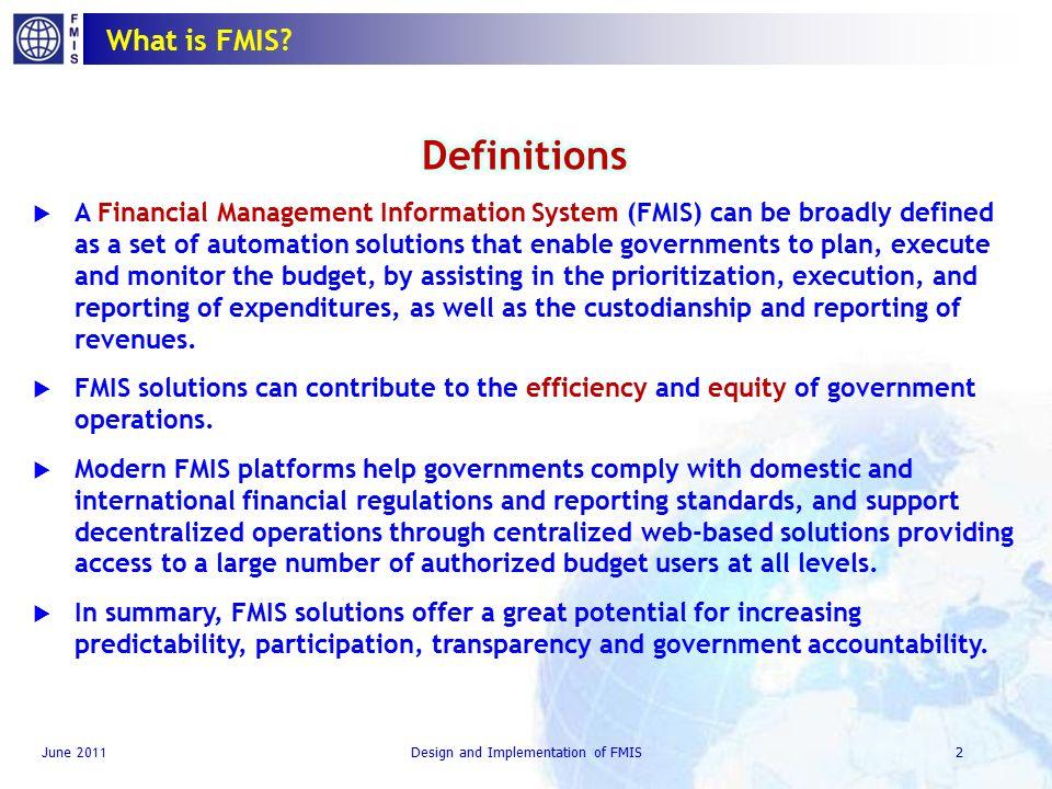 Design And Implementation Of Financial Management Information Systems Fmis Cem Dener June 14 2011 Washington Dc Design And Implementation Of Financial Ppt Download