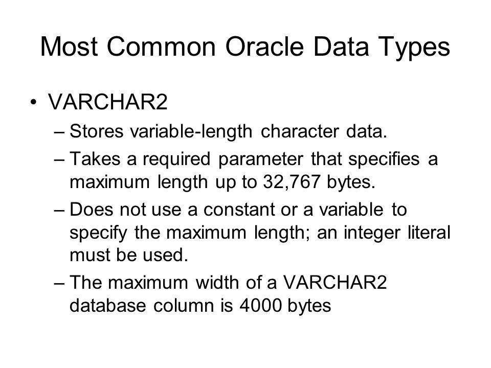 PLSQL Cont…  Most Common Oracle Data Types VARCHAR2 –Stores