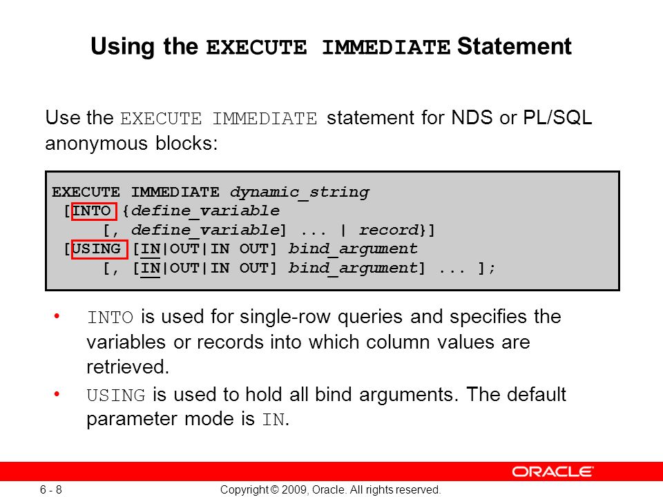 execute immediate into example in oracle