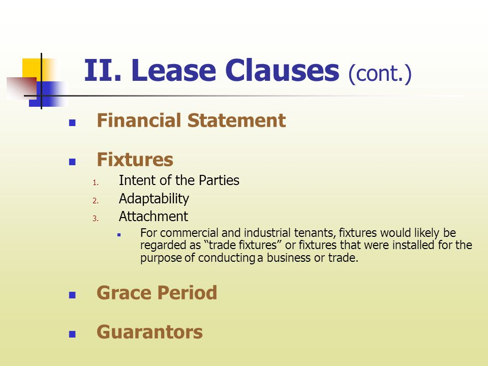 Chapter 4 Lease Clauses I Administration Of Lease Clauses In Order