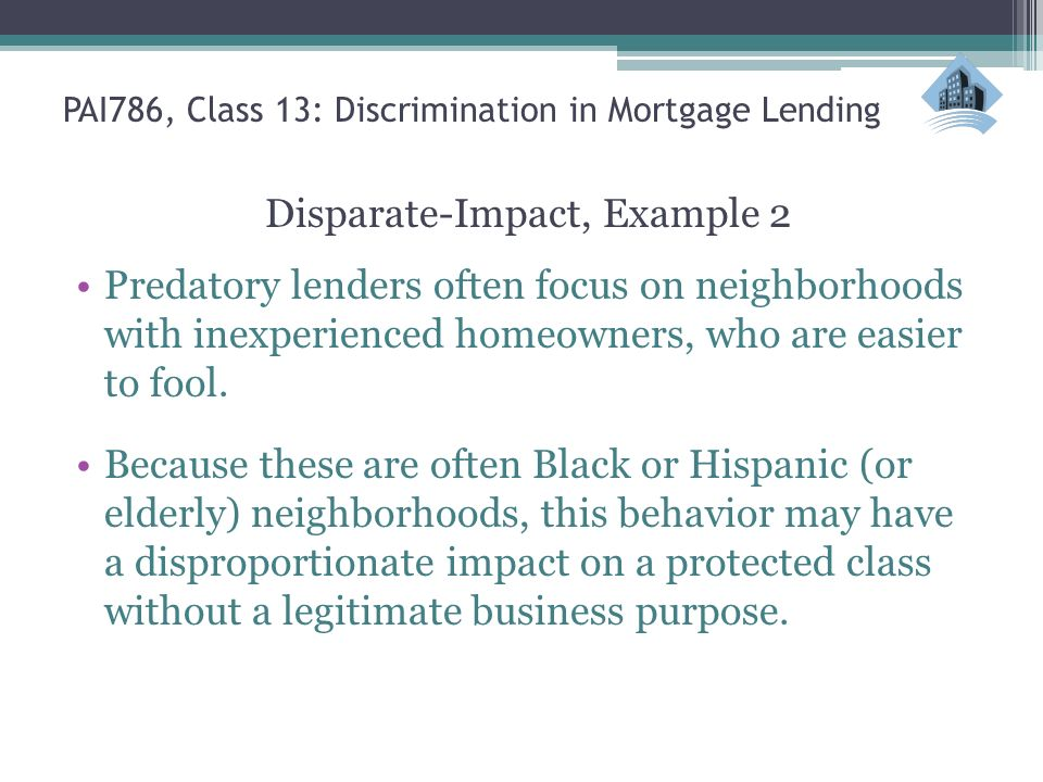 Pai786 Urban Policy Class 13 Discrimination In Mortgage Lending