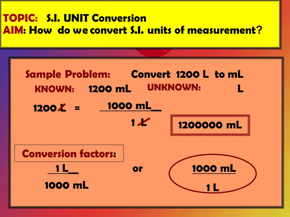 Topic S I Unit Conversion Aim How Do We Convert
