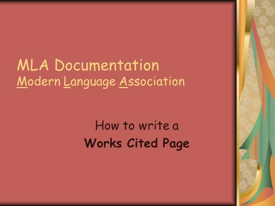 mla documentation modern language association how to write a works