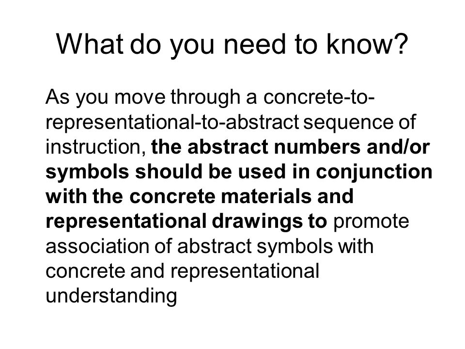Getting Math The Concrete Representative Abstract Teaching