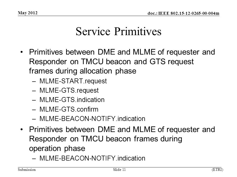 doc.: IEEE m Submission Service Primitives Primitives between DME and MLME of requester and Responder on TMCU beacon and GTS request frames during allocation phase –MLME-START.request –MLME-GTS.request –MLME-GTS.indication –MLME-GTS.confirm –MLME-BEACON-NOTIFY.indication Primitives between DME and MLME of requester and Responder on TMCU beacon frames during operation phase –MLME-BEACON-NOTIFY.indication May 2012 (ETRI)Slide 11