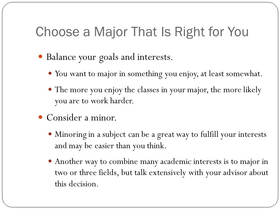 12 choose a major