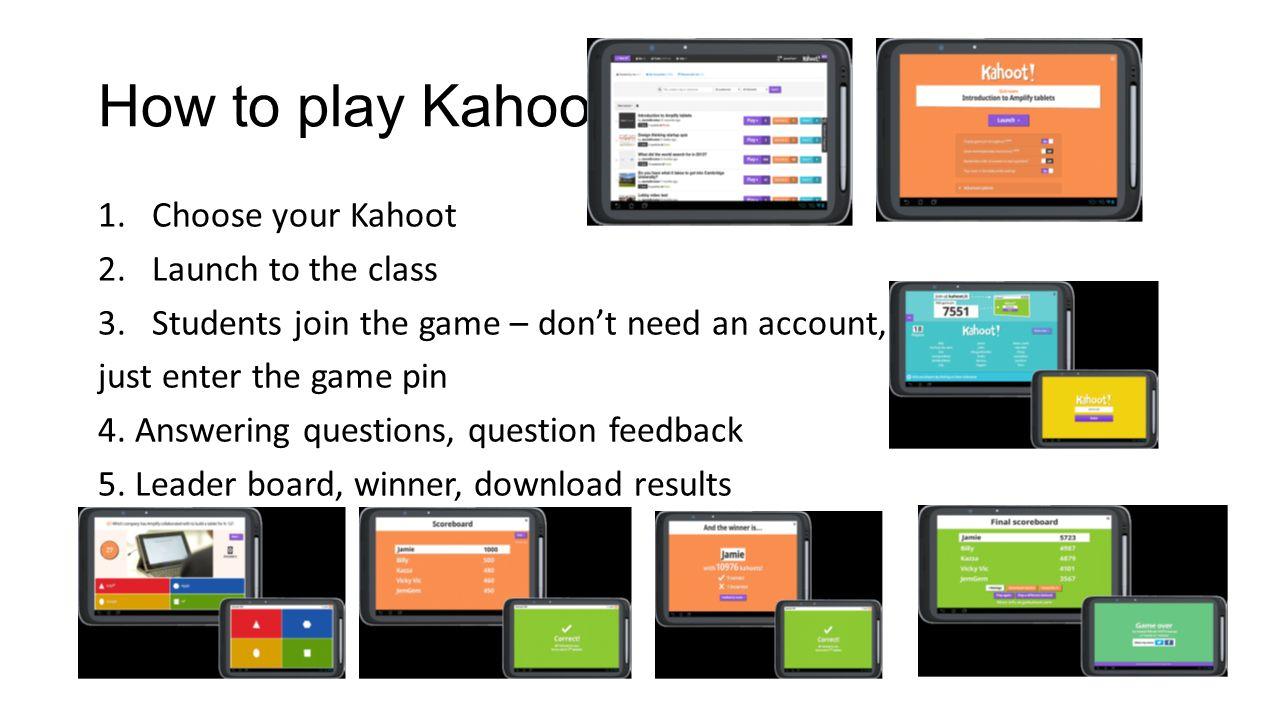 how to play kahoot 1choose your kahoot 2launch to the class 3