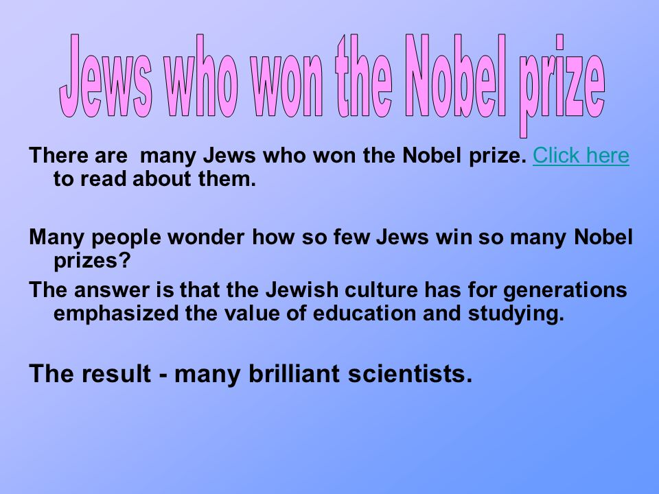 The other categories of nobel prizes jews