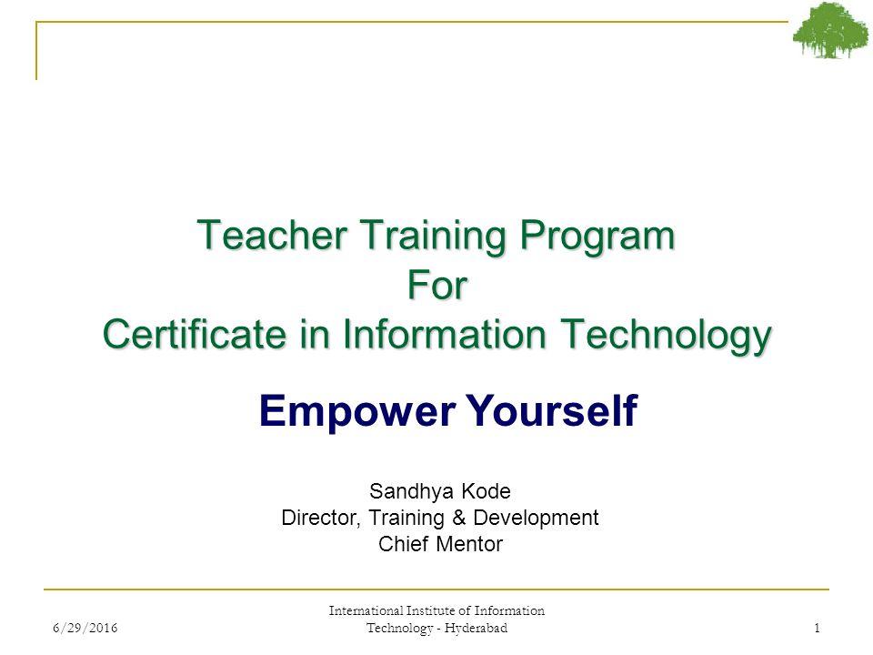 Teacher Training Program For Certificate in Information Technology ...
