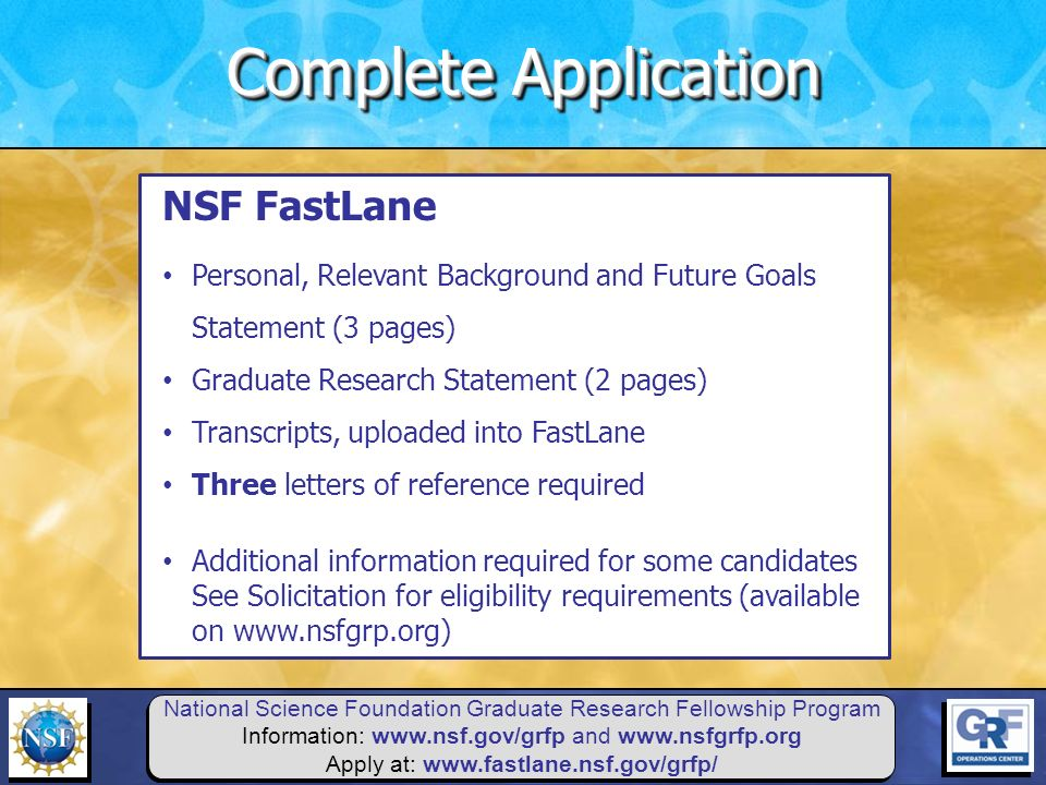 nsf fellowship essay prompts Career aspirations and how the nsf fellowship will enable you to achieve your goals nsf fellows are expected to become globally-engaged knowledge experts and leaders who can contribute significantly to research, education, and innovations in science and engineering.