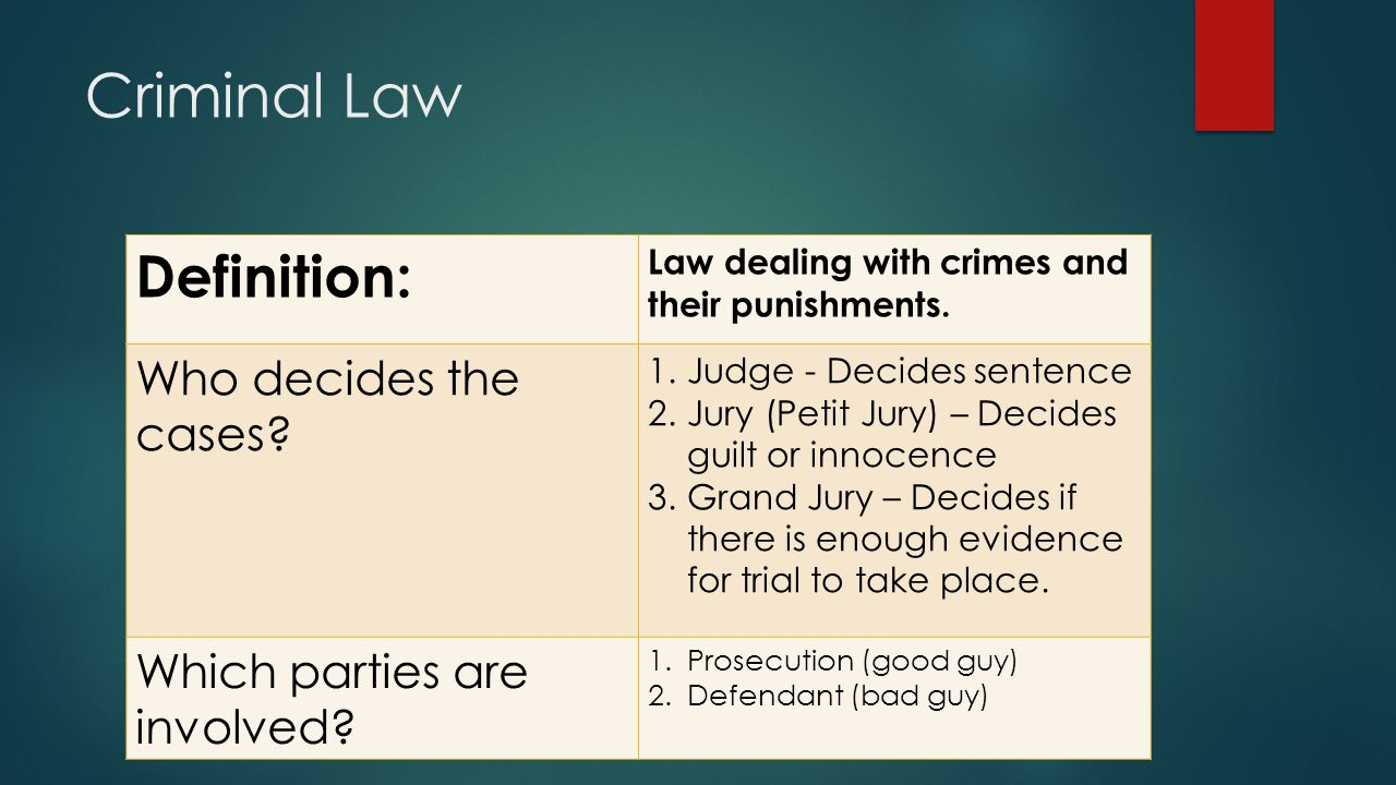 criminal law. objective: students will be able to:  evaluate info