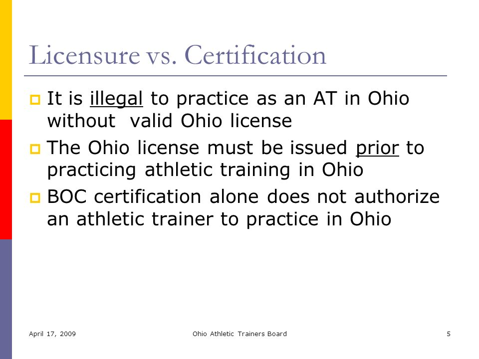 Athletic Training Licensure New Rules & Clinical Practice Update The ...