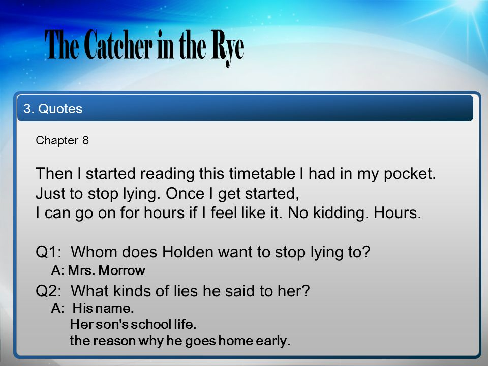 Hana Lee Eun Soon Han The Catcher In The Rye Chapters 8 9 Ppt Download