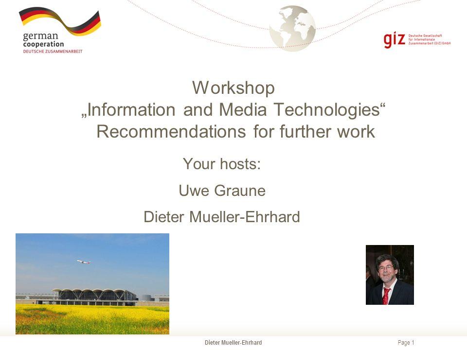 "Page 1 Dieter Mueller-Ehrhard Workshop ""Information and"