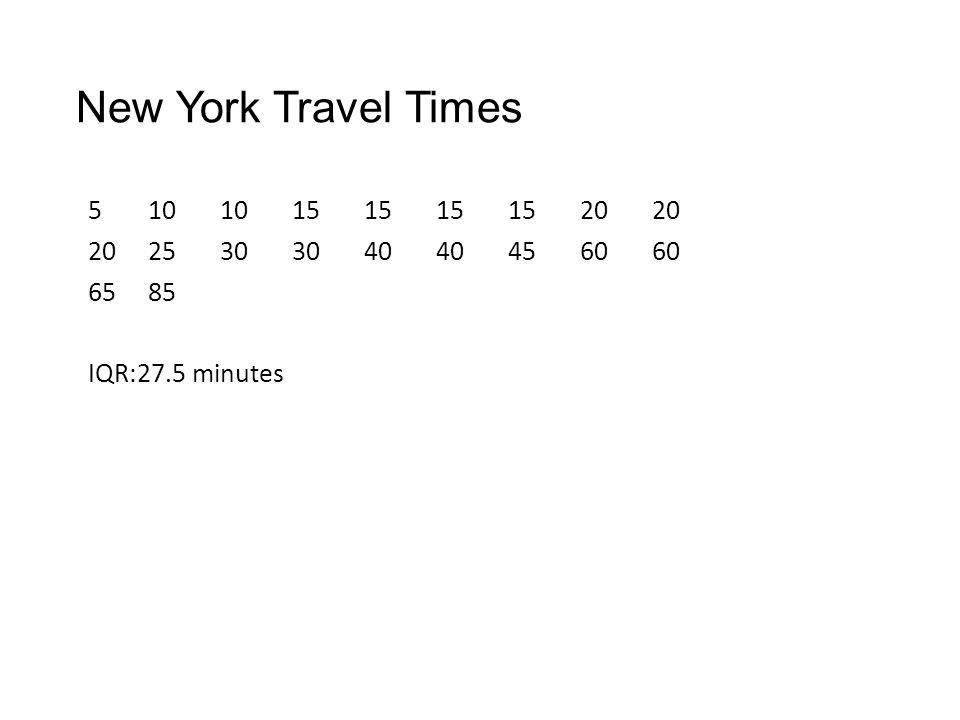 New York Travel Times IQR:27.5 minutes