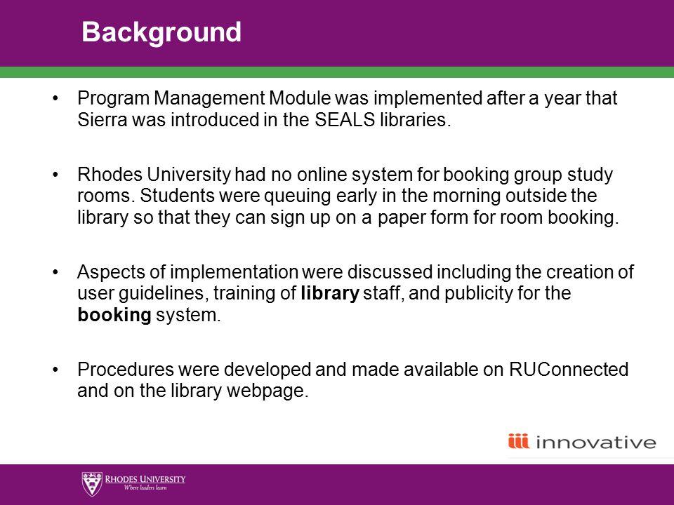 program management rhodes university experience by pelisa vanda rh slideplayer com