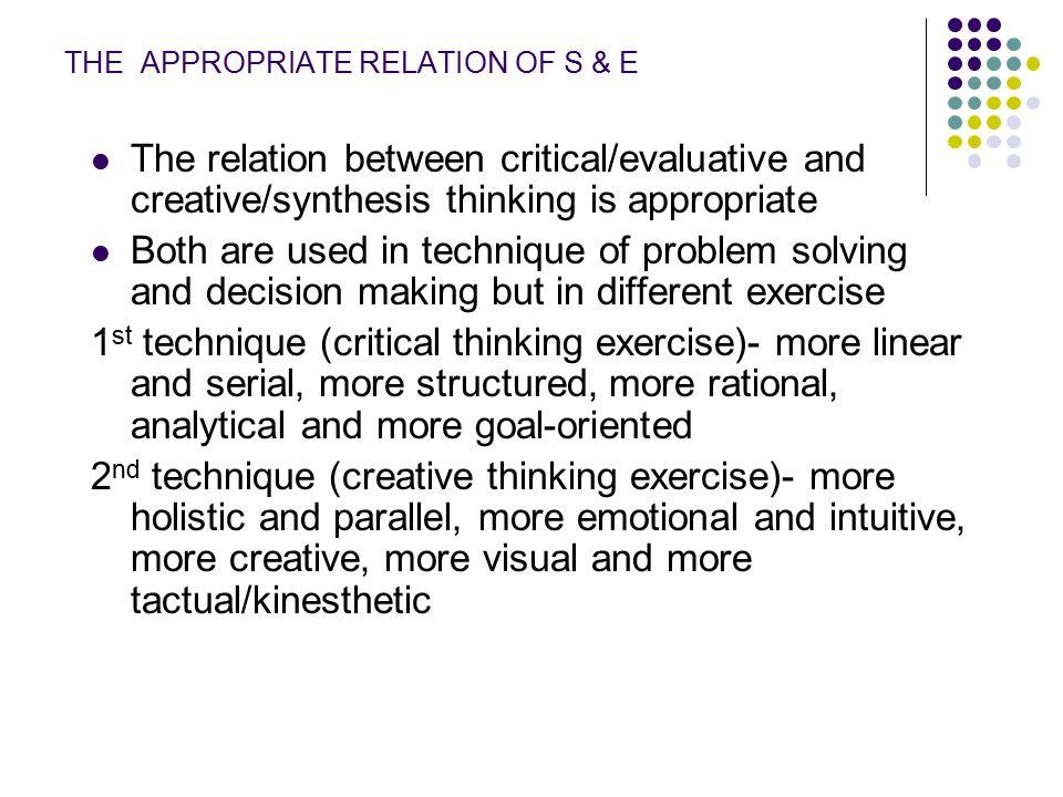 s&e critical thinking