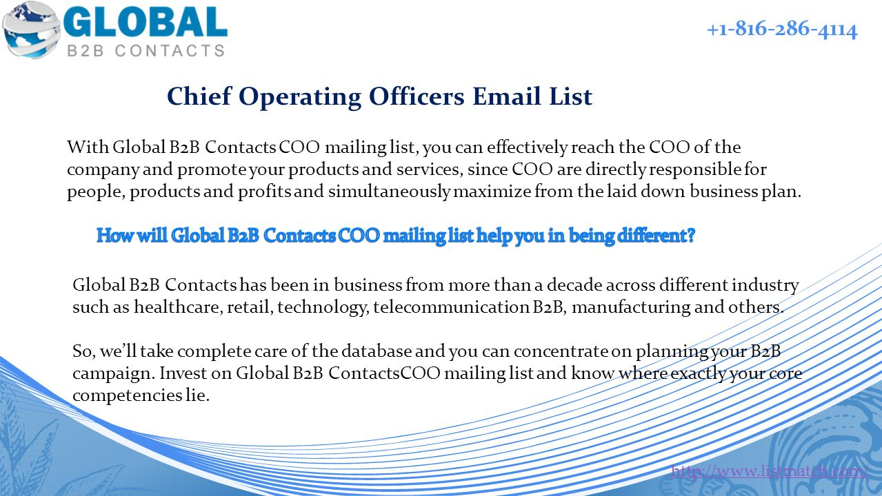 With Global B2B Contacts COO mailing list, you can effectively reach