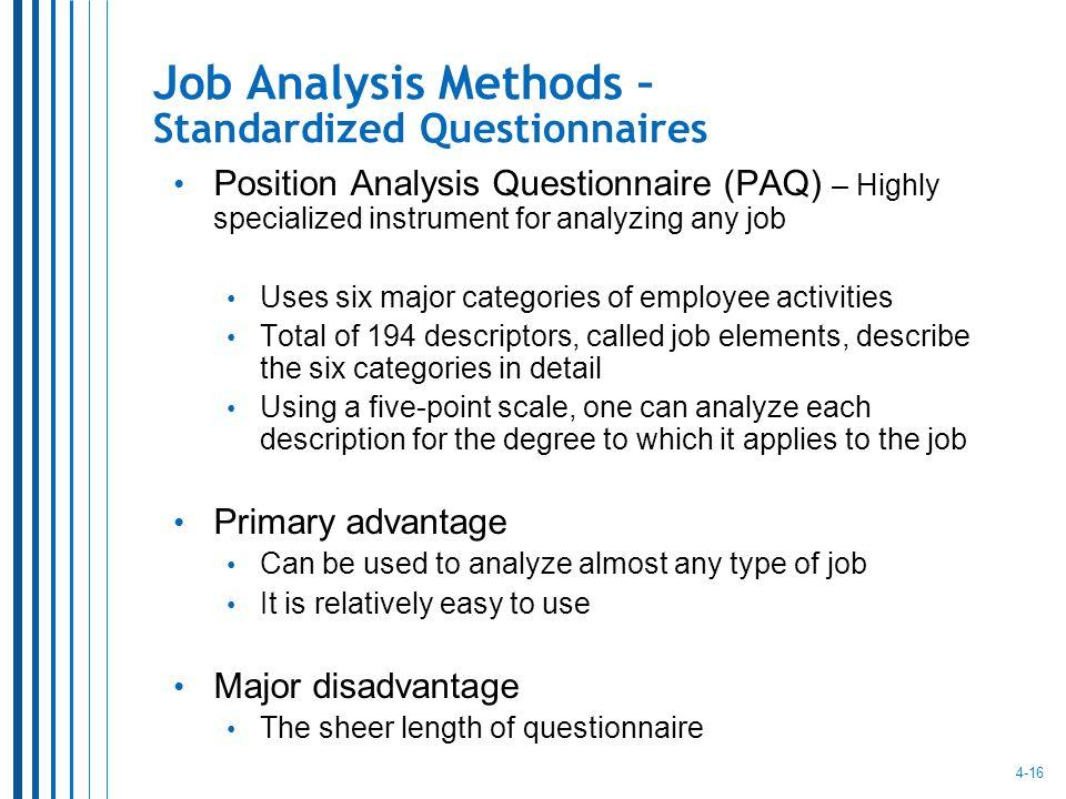 16 Job Analysis Methods Standardized Questionnaires Position