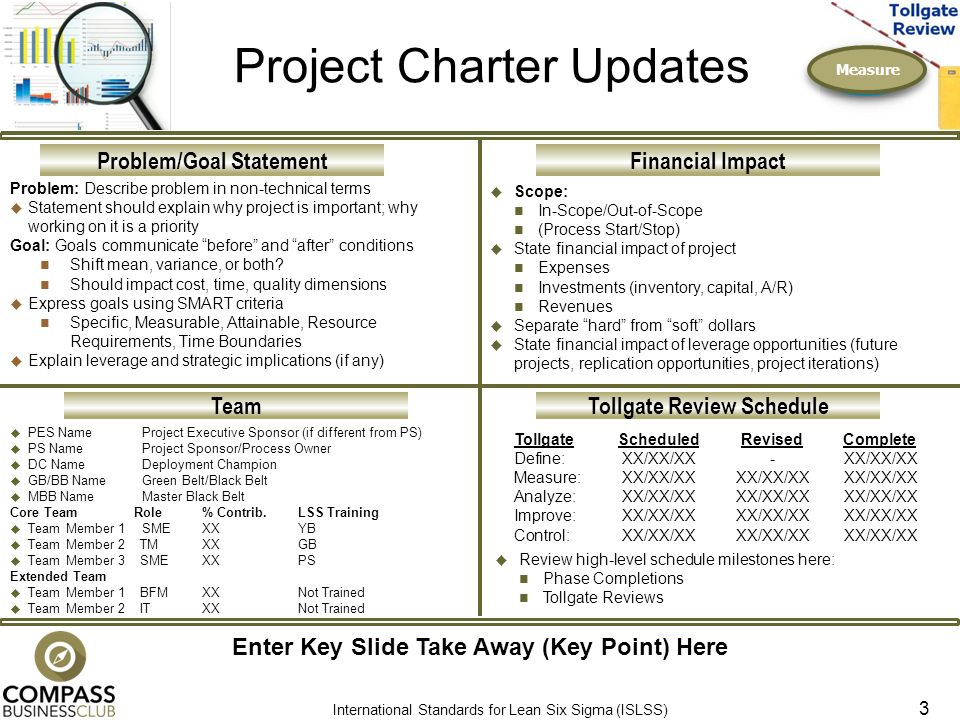Measure Project Charter Updates Problem Describe In Non Technical Terms Statement Should