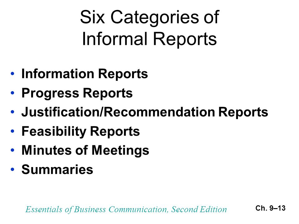 characteristics of business report