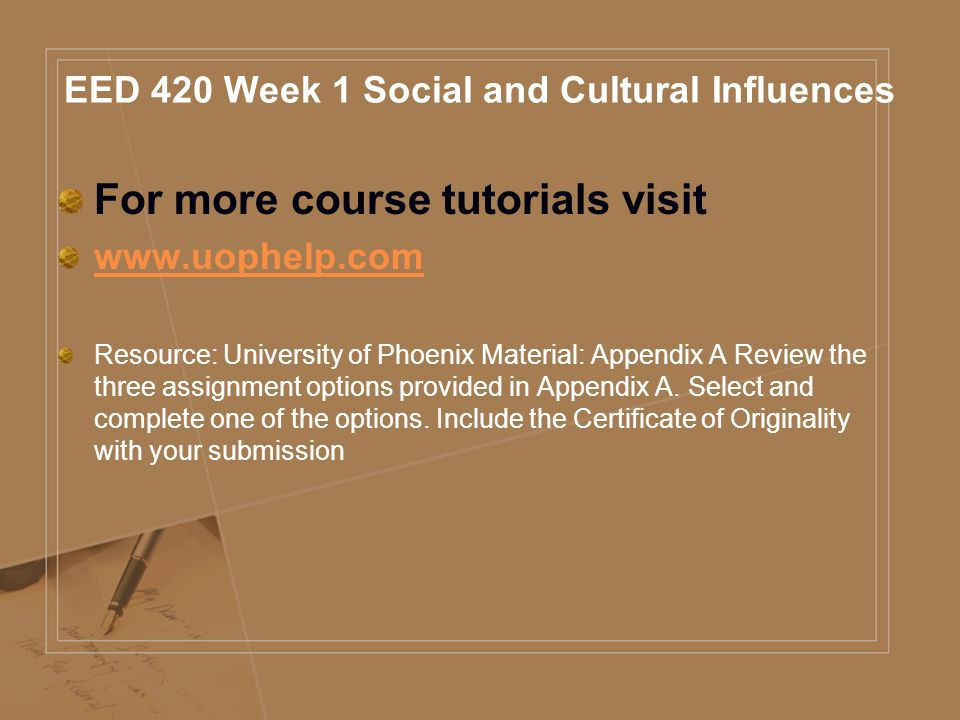EED 420 Course Tutorial For more course tutorials visit - ppt download