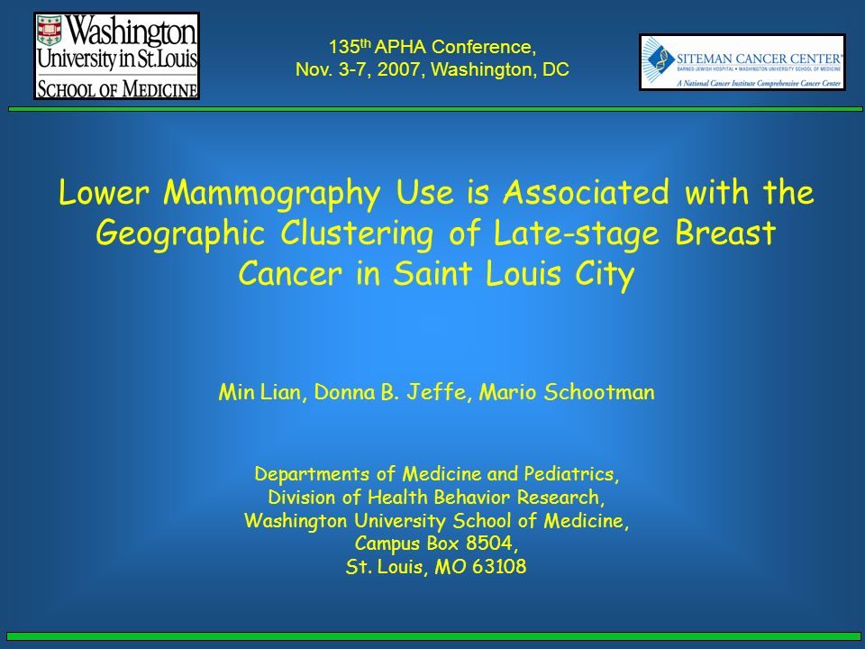 Lower Mammography Use Is Associated With The Geographic Clustering
