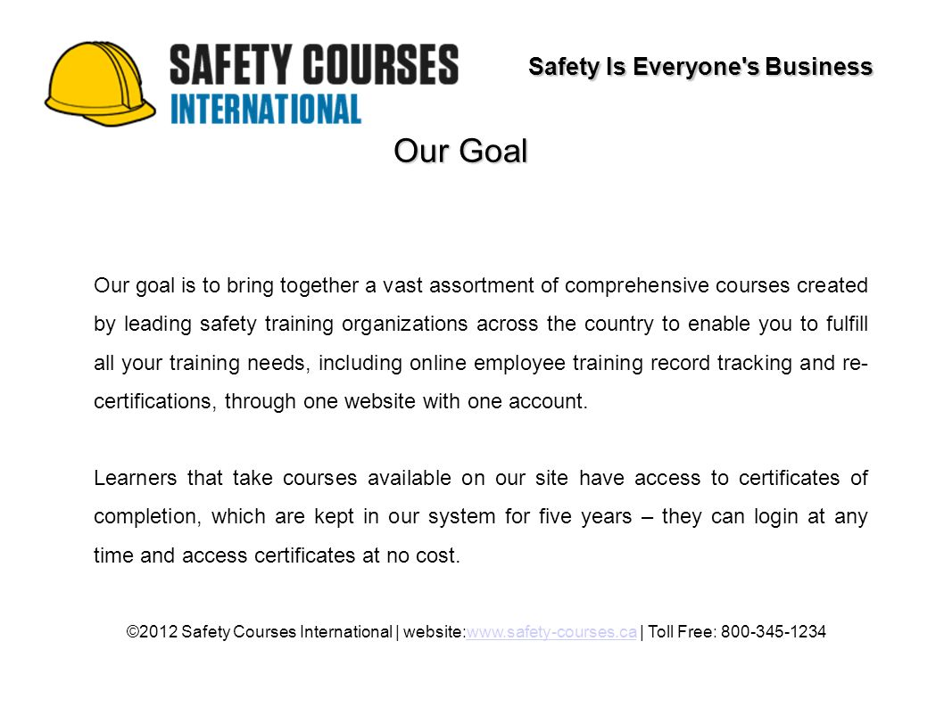 Safety Training Courses Safety Is Everyones Business 2012 Safety