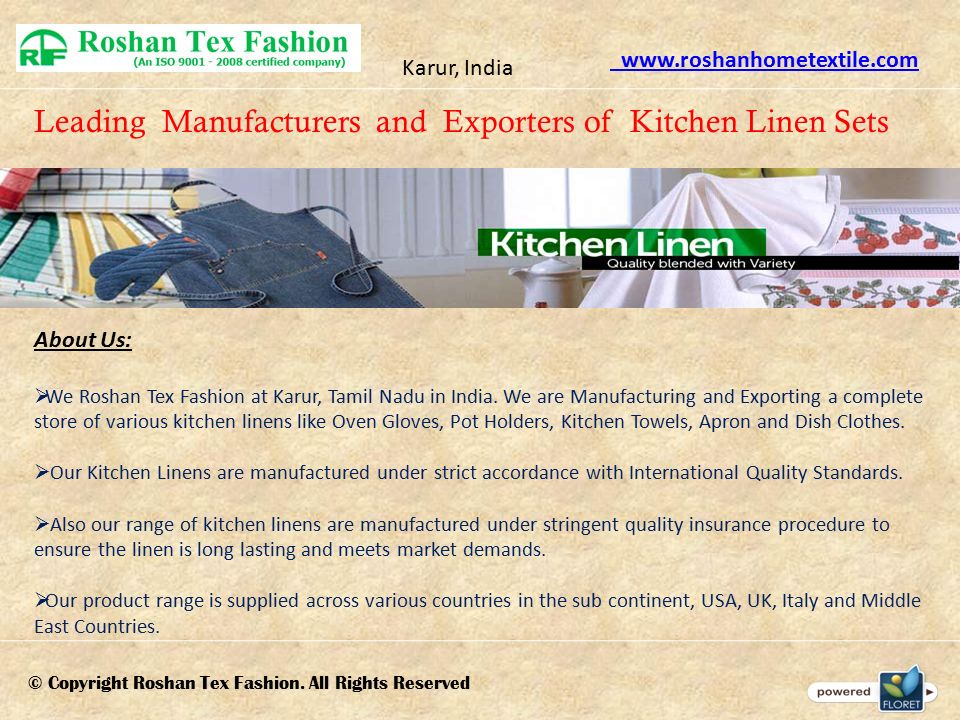 Leading Manufacturers and Exporters of Kitchen Linen Sets Karur