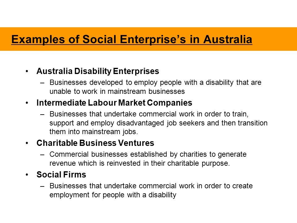 Define Social Enterprises as Organisations that: a  Are led