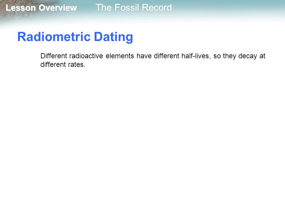 radiometric dating fossil record