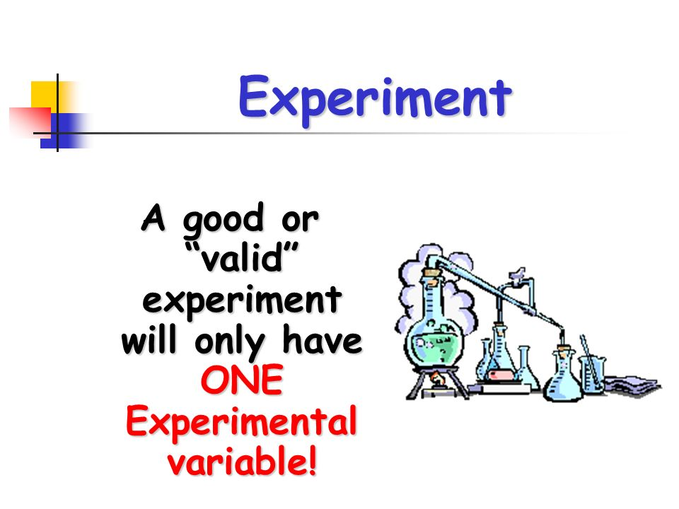 Experiment A good or valid experiment will only have ONE Experimental variable!