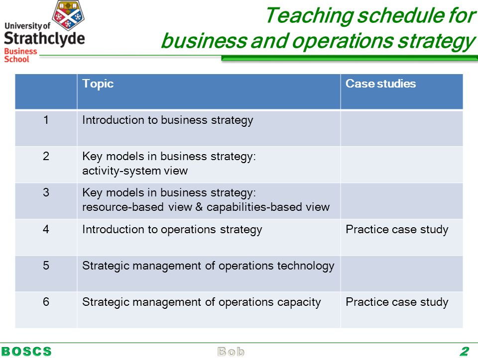 Business, Operations and Supply Chain Strategy (BOSCS