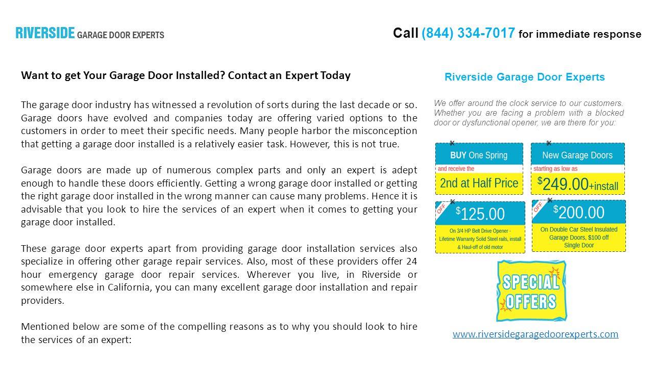 Call 844 For Immediate Response Riverside Garage Door Experts We