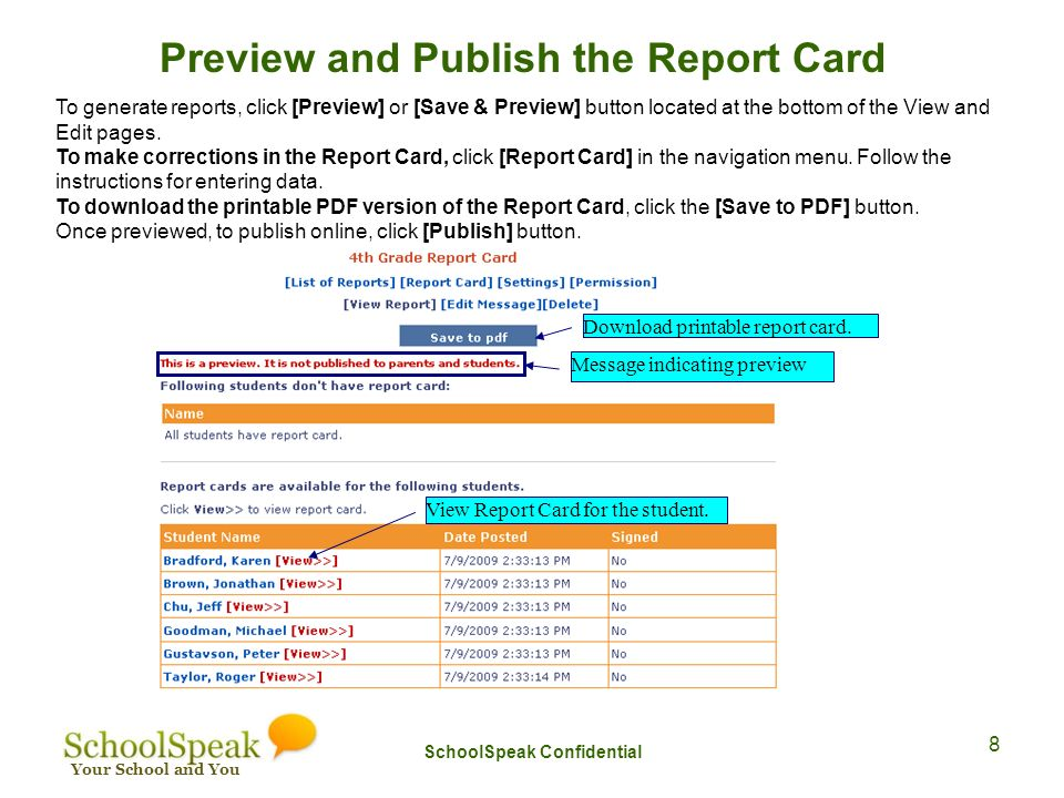 your school and you working with schoolspeak report card ppt download