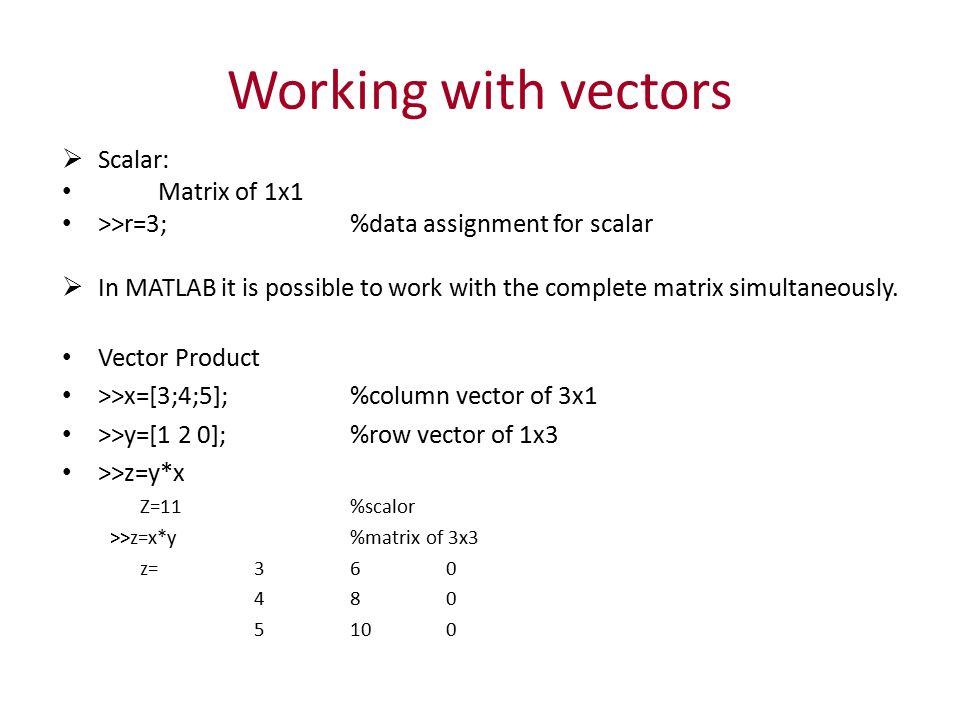 MATLAB Vectors & Matrices  Introduction  In MATLAB, matrix is